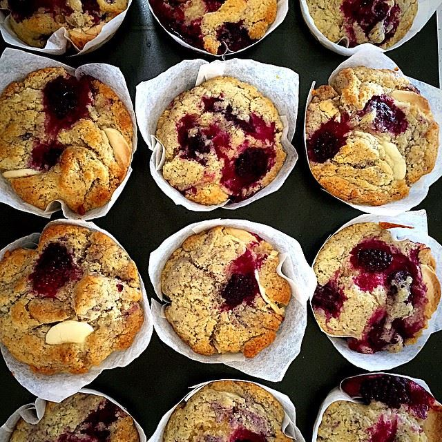 kate mount compass b:berry and white choc muffins