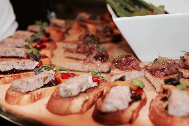 Delicious canapés, including duck pate.