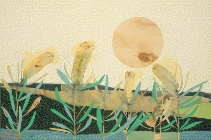 Dana Kinter, Perhaps It Sings in the Winter Time, acrylic and pencil on timber, 60cm x 90cm.